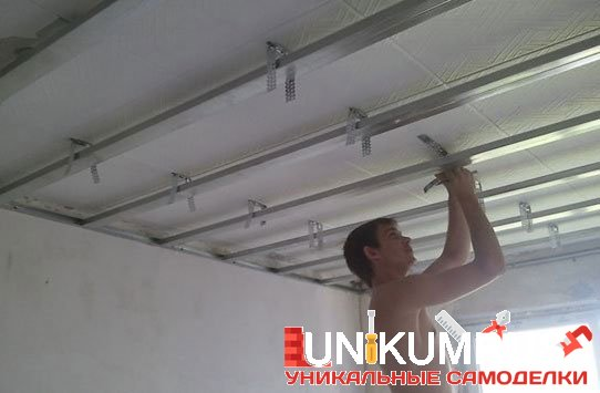 Подвесной потолок своими руками из гипсокартона пошагово фото